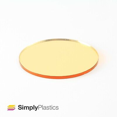 3mm Plaskolite® Laser Cut Gold 1300 Mirror Acrylic Plastic Circle Disc  • 21.62£