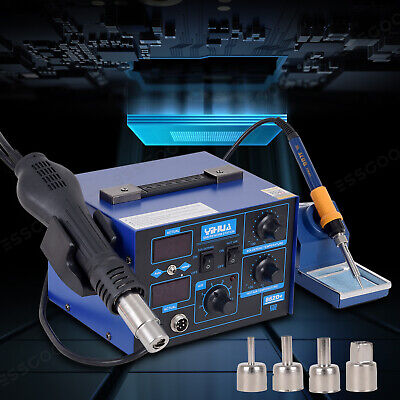 2 In 1 Soldering Iron Station SMD Rework Hot Air Gun Desoldering Digital 862D+ • 71.38£