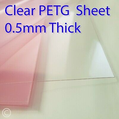 0.5mm Clear PETG Sheet - For Face Mask Visors, Crafting, Doll House, Pet Perspex • 8.25£