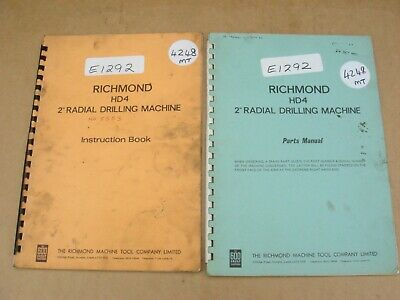 Original Richmond Hde 2  Radial Drilling M/c, Instructions & Spare Parts Manuals • 20£