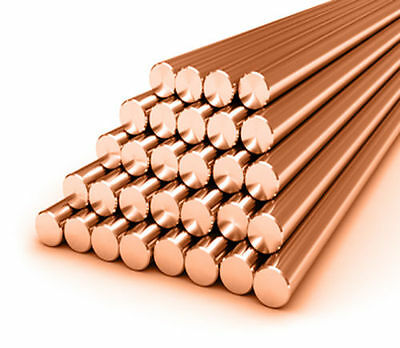 Pure Copper Round Bar / Rod - 3mm Diameter - 100mm Up To 1000mm Lengths • 2.99£