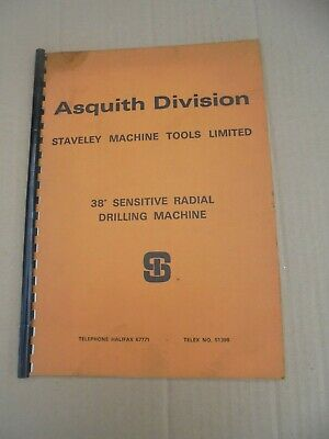 Original Asquith 38  Sensitive Radial Drilling Machine Instruction Manual • 25£