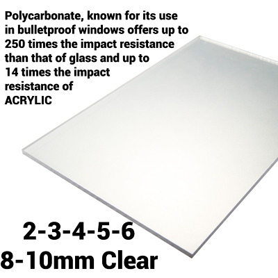 2mm 3mm 4mm 5mm 6mm 8mm 10mm Clear Perspex Sheet Polycarbonate Solid Sheet • 186.05£