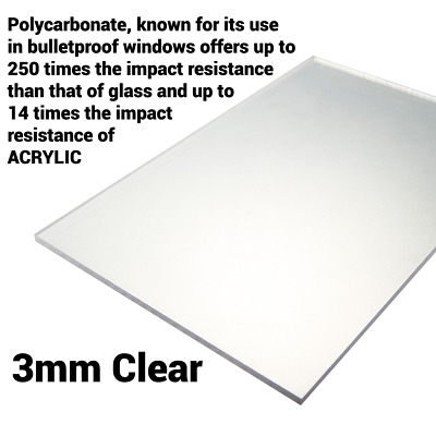 3mm Clear Perspex Sheet Screen Polycarbonate Solid Sheet Cut To Size • 31.25£