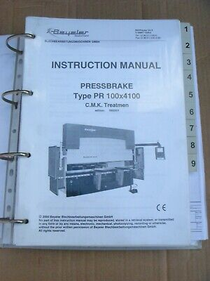 BYSTRONIC BEYELER PR 100 X 4100 PRESSBRAKE INSTRUCTION MANUAL • 100£