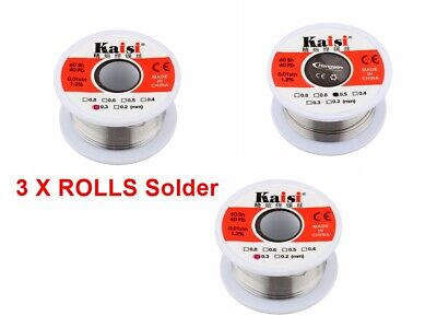 3 Reel's Solder Wire 60/40  Fluxed, Very Thin Small Electronics Use 0.3/0.5mm  • 9.89£