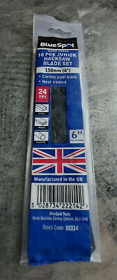 10 Piece Made In UK 150mm 6  Junior Hacksaw Blades 24 TPI Metal Plastic Wood X10 • 3.69£