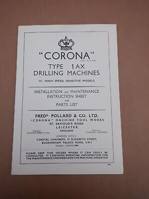 Pollard Corona 1ax Drilling Machine Instruction Booklet  • 15£