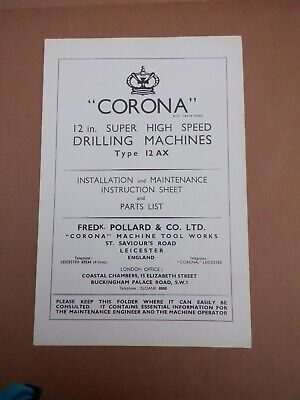 Pollard Corona 12ax Drilling Machine Instruction Booklet  • 15£