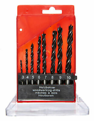 New 8Pc Wood Working Drill Set 3 4 5 6 7 8 9 10Mm Storage Case Straight Shank • 3.39£