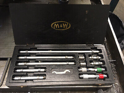 """Moore And Wright 1-12"""" Precision End Rule Set/inside Micrometers For Jig Boring • 99.97£"""