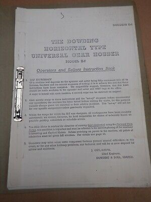 Dowding H7 Universal Gear Hobber Operators & Setters Instruction Book • 20£