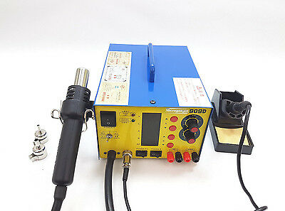 3in1 SMD HotAir Rework Station 909D Soldering Iron Power Supply 3 Nozzles (909D) • 74.99£
