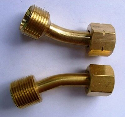 BSP Bent Hose Adaptors Reduces 3/8 Female Hose To Fit 1/4 Male Lightweight Torch • 4£