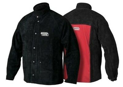 Lincoln BLACK LEATHER SLEEVED WELDING JACKET Heavy Duty- Size L, XL Or 2XL • 149.49£