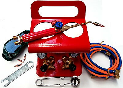 Portable Oxy Set Kit Including 3 X Heads 1 X Hose Set 1 X Stand Torch Gun & Accs • 145.71£