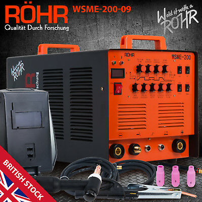 ARC TIG Welder Inverter MMA Gas / Gasless 240V 200amp DC 4 In 1 WSME-200 - ROHR • 379.99£