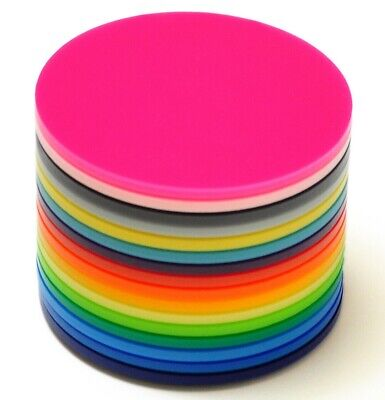 3mm Thickness Acrylic Discs, Multiple Colours And Sizes Available 50mm - 190mm • 1.20£