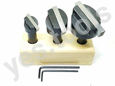 3 Piece Engineers Fly Cutter Set With HSS Tool Bits 1/2  Shank + Stand UK Stock • 24.99£