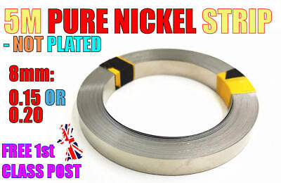 5m PURE NICKEL Strip NOT PLATED 8mm X .15 Or .20 18650 Battery Spot Welding • 10.99£