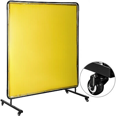 Welding Curtain Welding Screen With Frame 4 Wheels Flame-resistant Vinyl 6' X 6' • 63.98£