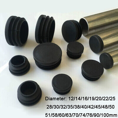 Round Plastic Black Blanking End Cap Caps Tube Pipe Inserts Plug Bung 12~100mm • 166£