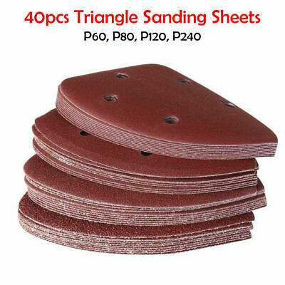 40PCS Sanding Sheets Mouse Sander Pads 140mm Punched Triangle,60,80,120,240 Grit • 11.99£