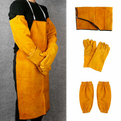 Welder Welding Blacksmith Clothes Protection Leather Gloves Gauntlets Long Apron • 15.39£