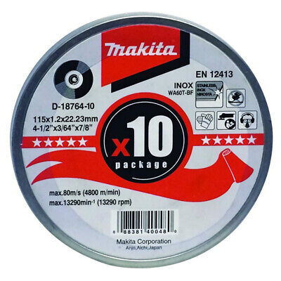 Makita D-18764 10pc INOX Metal Cut Angle Grinder Disc 115mm X 1.2mm X 22mm • 8.99£