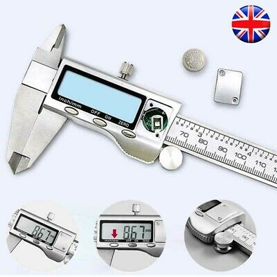 6inch LCD Digital Stainless Steel Vernier Caliper Gauge Ruler Micrometer Tool UK • 13.99£