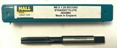 HALL M8 X 1.25 HSS Second Straight Flute Tap MADE IN ENGLAND NEW Metric Course • 4.50£