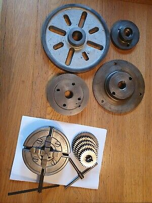 Lathe Chuck 4  - 4 Jaw - 3/4  + Misc Faceplates, Dies And Change Wheels • 34£