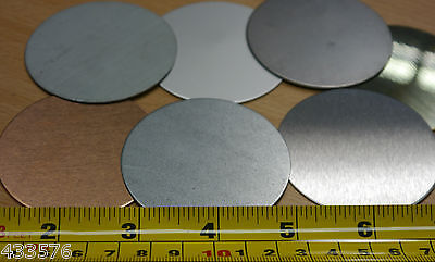 Qty 2 BLANK DISCS 47mm Dia Sheet Metal Brass Stainless Steel Aluminium Copper • 3.47£