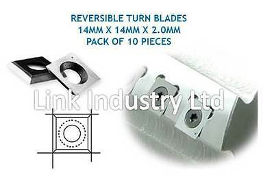 10 Pces. 14 X 14 X 2.0mm CARBIDE REVERSIBLE TURN BLADES, REVERSIBLE TIP KNIVES • 17.09£
