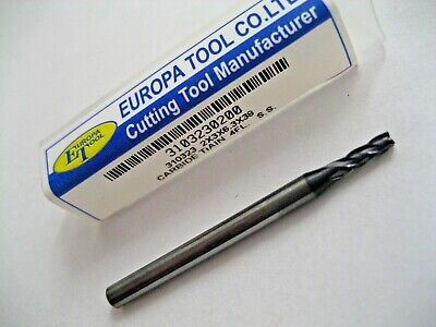 2mm CARBIDE END MILL TiALN COATED 4 FLUTED EUROPA TOOL 3103230200  41 • 11.29£