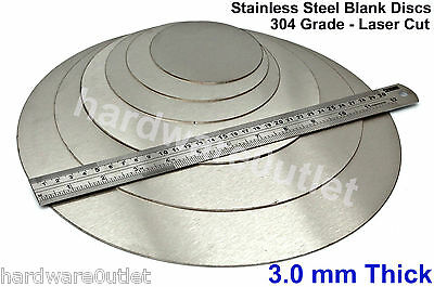 3 Mm 1/8  Thick STAINLESS STEEL Blank DISCS 25 - 300mm Precision Laser Cut PC1 • 3.30£