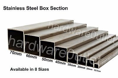 Grade 304 Stainless Steel SQUARE BOX Tube Section 8 Sizes & 10 Lengths Available • 34.38£