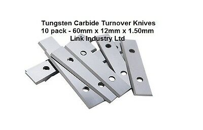 10 Pces. 60 X 12 X 1.5mm CARBIDE REVERSIBLE TURN BLADES REVERSIBLE TIP KNIVES • 24.94£