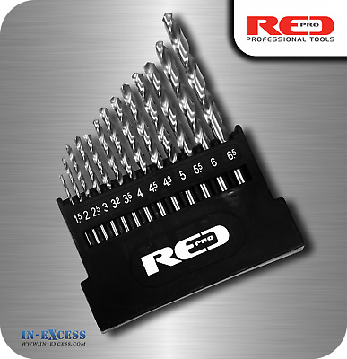Red Pro Metal HSS-G Drill Bit Set - 13 Pieces In Storage Case 1.5mm - 6.5mm • 7.69£