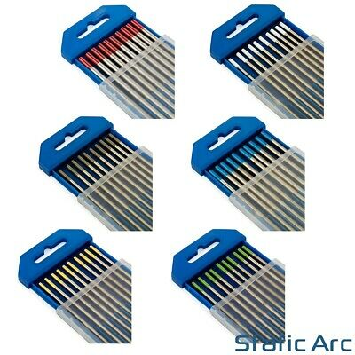 10Pc TIG WELDING TUNGSTEN ELECTRODES BLUE/GOLD/GREEN/GREY/RED/WHITE 1.6mm/2.4mm • 9.99£