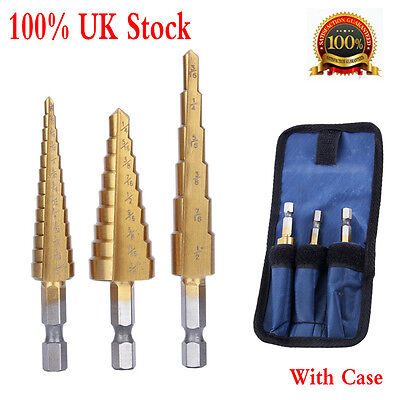3pcs Small Titanium Step Drill HSS Bit Set Auto Hole Cutter Tool W/ Storage Bag • 8.99£