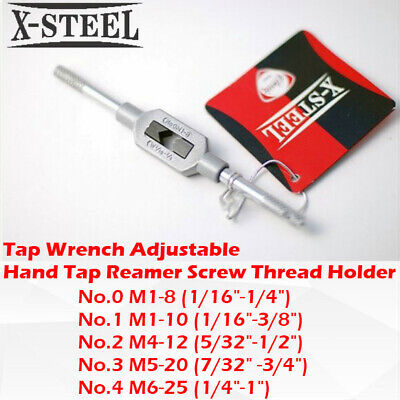 No.0/1/2/3/4 Tap Wrench Adjustable Hand Tap Reamer Screw Thread Holder • 14.86£
