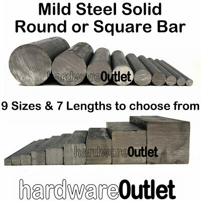 MILD STEEL Solid SQUARE Or ROUND BAR - 9 Diameters & 10 Lengths To Choose From • 3.96£