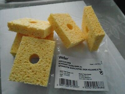 WELLER 0052241999 TIP CLEANING SPONGES-70 X 55 X 16mm-PACK OF 5-BARGAIN PRICE • 14.50£