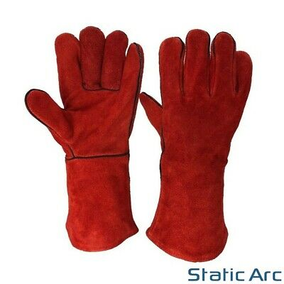 Welding Gloves Gauntlet Pair Leather Stove Burner Fire Oven Heat Resistant Red • 13.99£
