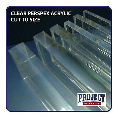 CLEAR PERSPEX ACRYLIC 4mm 5mm 6mm 8mm & 10mm  PLASTIC SHEET PANELS CUT TO SIZE • 36.59£