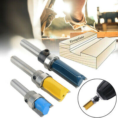 3x Top Bearing Flush Trim Pattern Router Bit Set Durable Milling Cut Tools 1/4'' • 7.99£