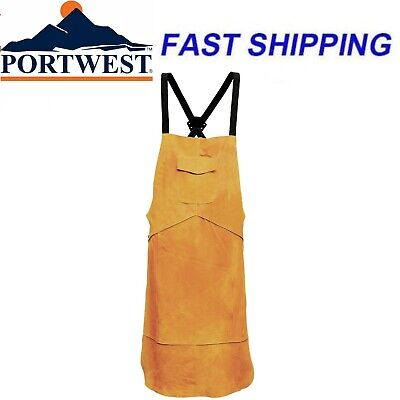 Portwest SW10 Leather Welding Apron Cover Welders Protection Golden Brown Safety • 15.99£