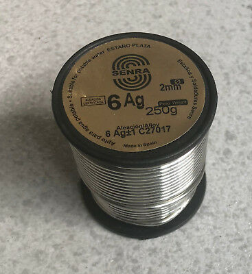 250 Gr 1 Coil Welding Tin Silver Sn94 Ag6 2,0mm DIN1707L Use Water Drinking • 32.19£