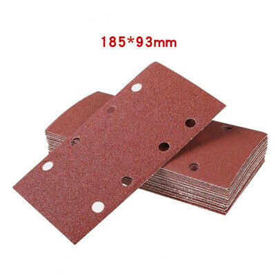 93*190mm Sandpaper Pads Mixed 40-120 Grit Aluminium Red Brown 8 Dust Holes • 12.23£